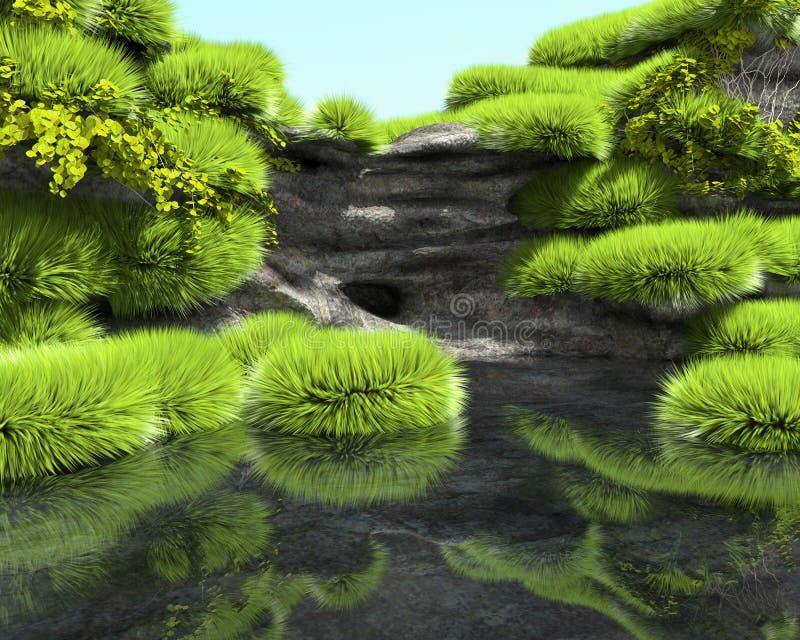 Stenig kust av en tropisk sjö med frodig vegetation royaltyfri illustrationer