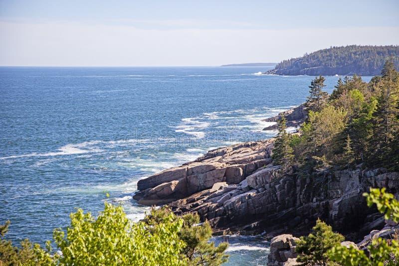 Stenig kust f?r Acadianationalpark royaltyfria bilder