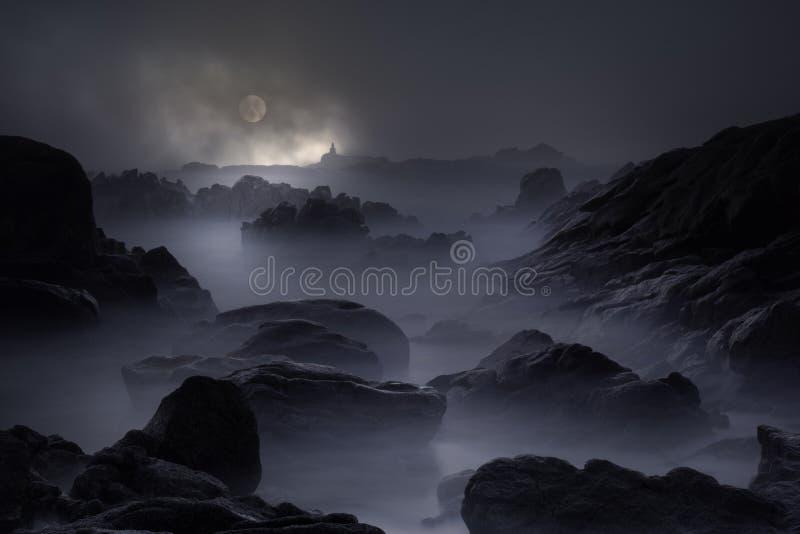 Stenig kust i en fullmånenatt royaltyfria bilder