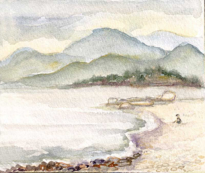 Stenig kust nära Batumi stock illustrationer