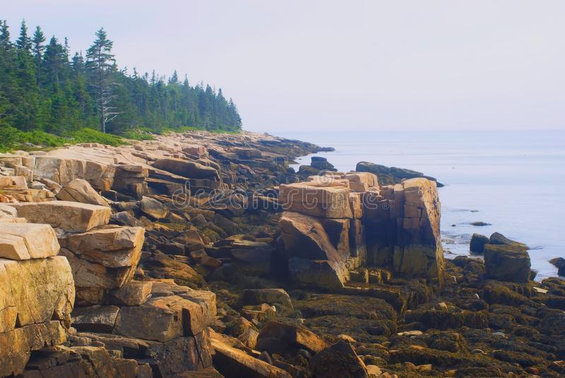 Stenig kustlinje i stånghamnen Maine arkivfoton