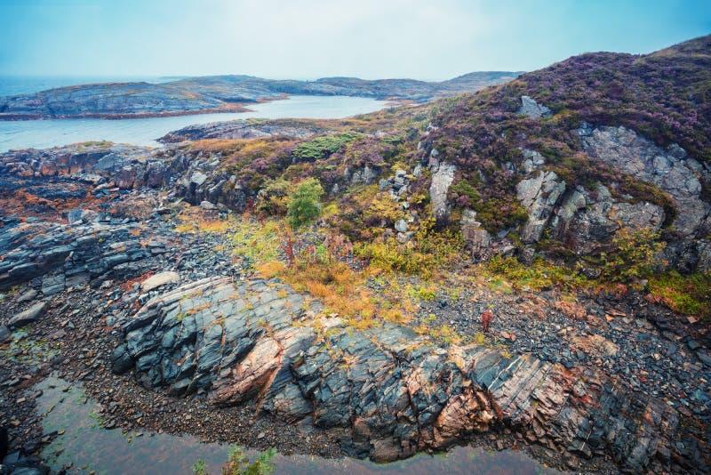 stenig strand Härlig vildmark av Norge royaltyfri fotografi