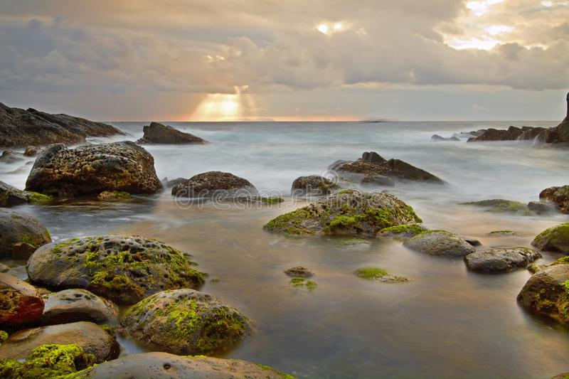 Stenig strand, Taiwan kust arkivbild