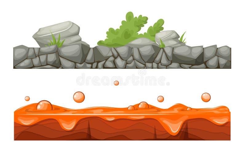 Stenig stenig yttersida av jord med vegetation, lava med krater vektor illustrationer