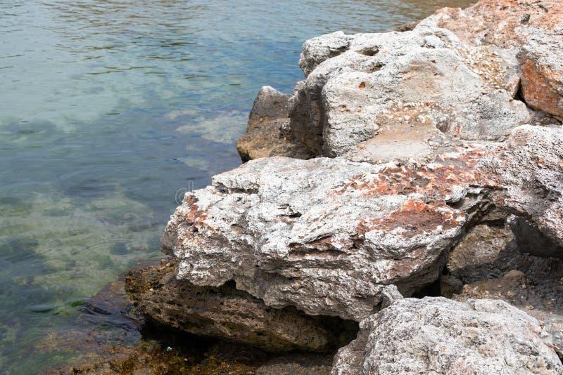 Steniga leraklippor på stranden arkivfoton