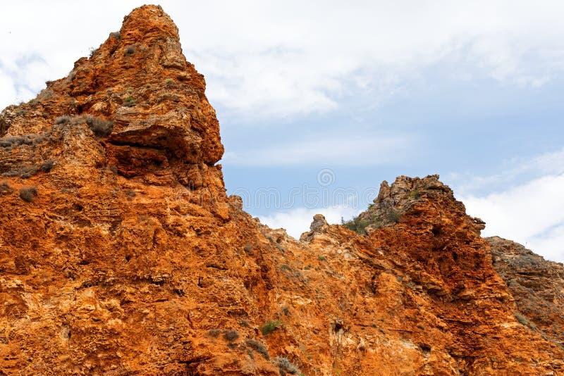 Steniga leraklippor på stranden royaltyfri fotografi