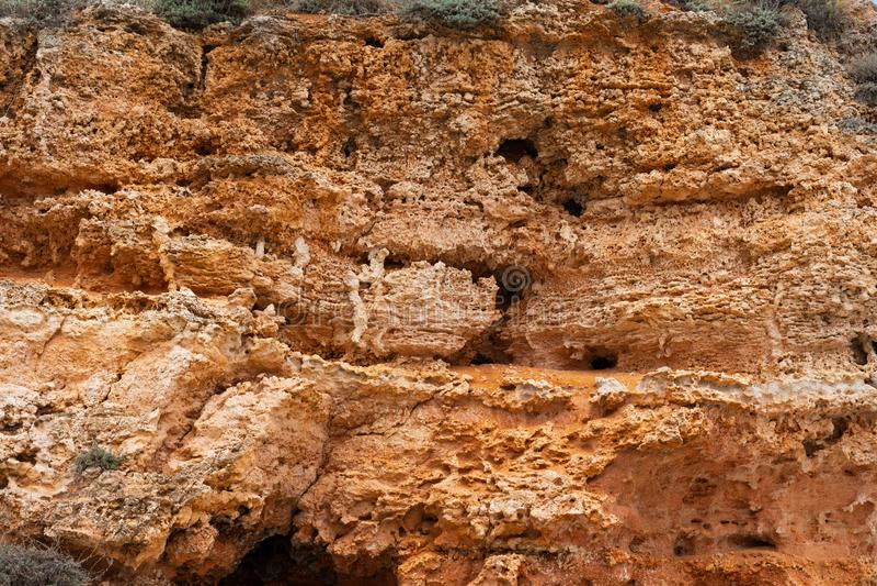 Steniga leraklippor på stranden arkivbilder