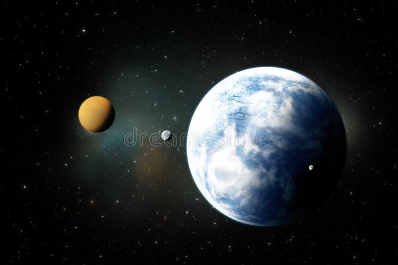 Steniga planeter, Exoplanets eller Extrasolar planeter fr?n djup yttre rymd stock illustrationer