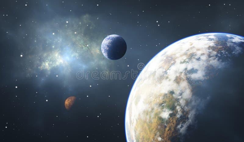 Steniga planeter, Exoplanets eller Extrasolar planeter, utrymmebakgrund royaltyfri illustrationer