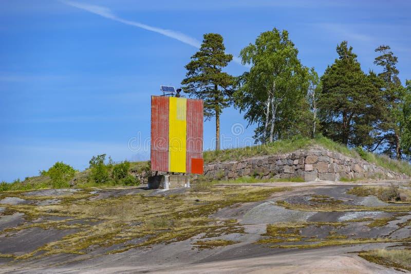Stenigt kustlandskap nära Kotka, Finland arkivbilder