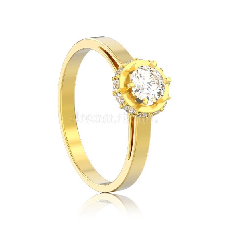 stenlägger illustrationen isolerade gloriaskyddsramen för gul guld 3D diamanten rin vektor illustrationer
