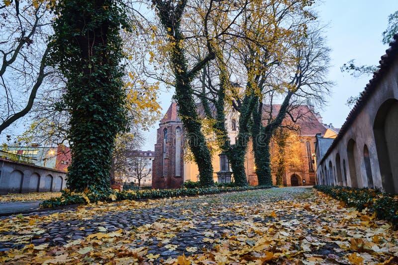Stenlagd bakgata och medeltida kyrka under höst arkivbilder