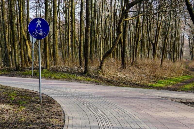 Stenlagd gångare och cyklabana med inbyggda anvisningar för folk med visuell försämring arkivfoto
