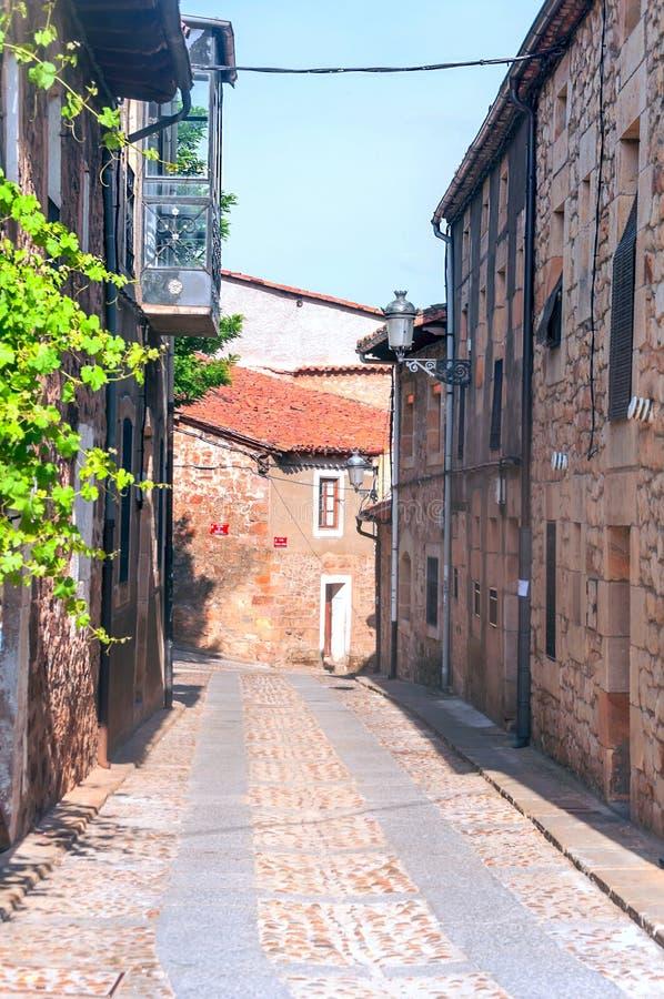 Stenlagd gata i Vinuesa royaltyfria foton