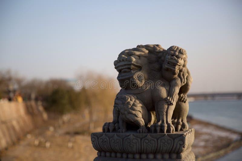 Stenlejonen på den Lugou bron i det Fengtai området, Pekingstad royaltyfria foton