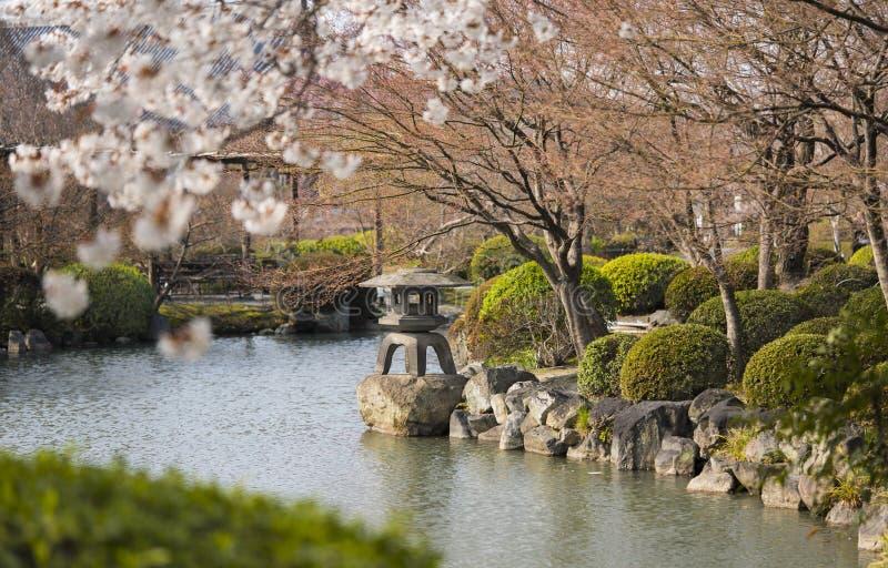 Stenlyktakorg i japanträdgård av Toji i Kyoto i Japa royaltyfri fotografi