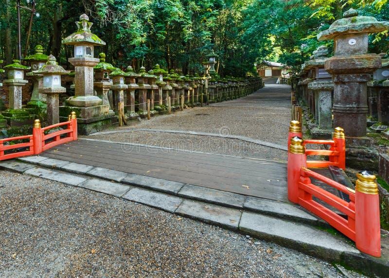 Stenlyktor på Kasuga Taisha i Nara royaltyfri foto