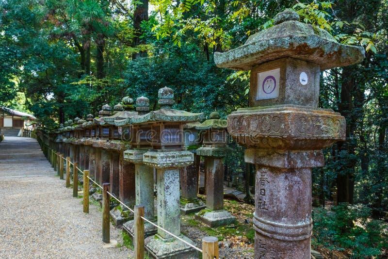 Stenlyktor på Kasuga Taisha i Nara royaltyfri fotografi