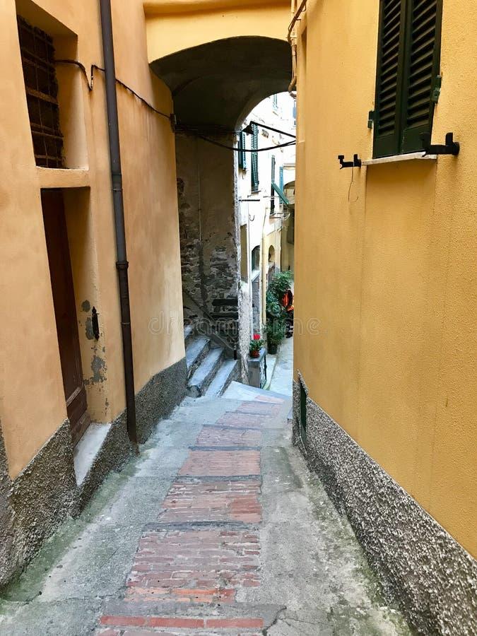 Stenmoment leder nedåt mellan guld- stuckaturväggar i Vernazza, arkivfoton