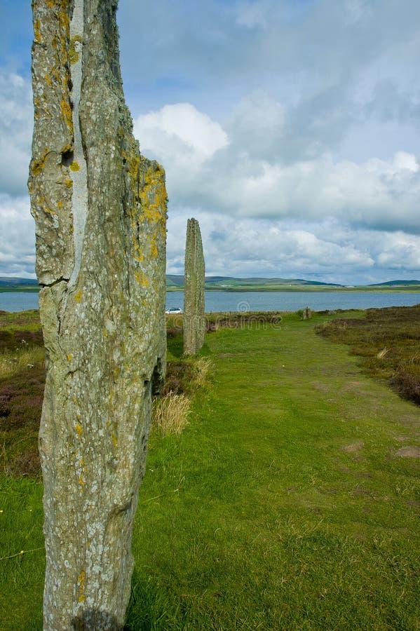 Stenness empiedra la opinión del círculo en la isla de las Orcadas, Escocia imagen de archivo