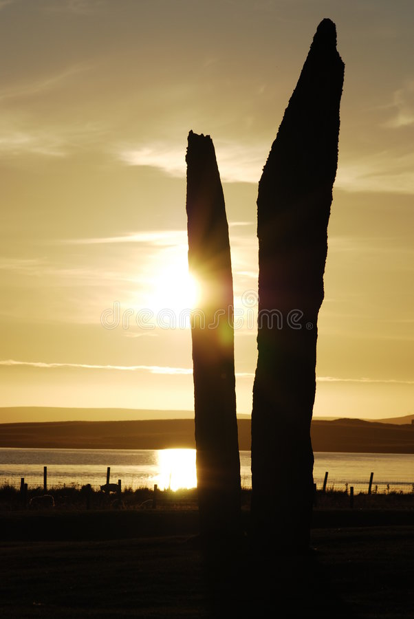 Stenness Orkney. Sunset over Stenness, Orkney islands royalty free stock images