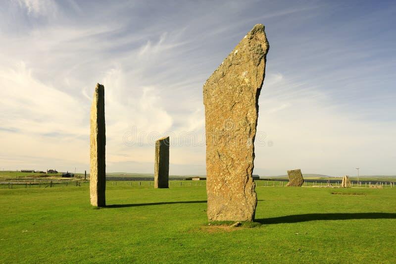 Stenness, pedras eretas Neolithic, Orkney fotografia de stock royalty free