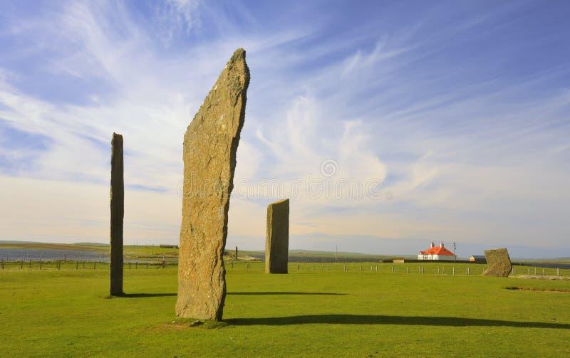 Stenness, posição Neolithic apedreja 2 ilhas de Orkney imagem de stock royalty free