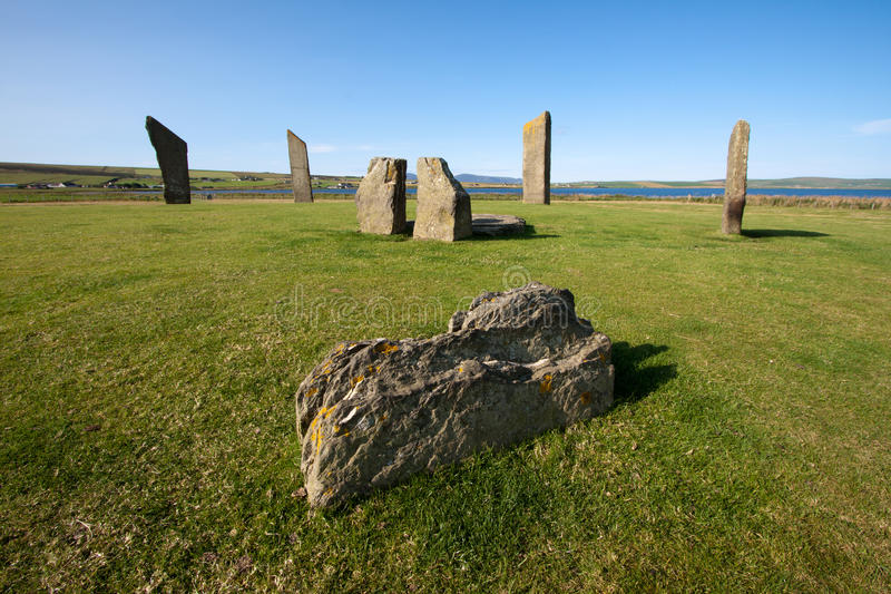 Stenness pozyci kamienie, Orkney, Szkocja obraz royalty free