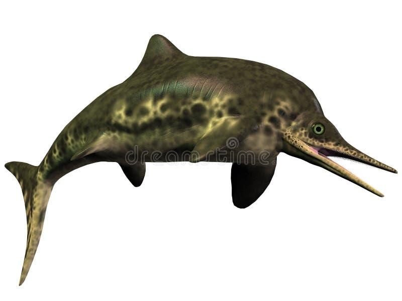 Stenopterygius Icthyosaur na bielu ilustracji
