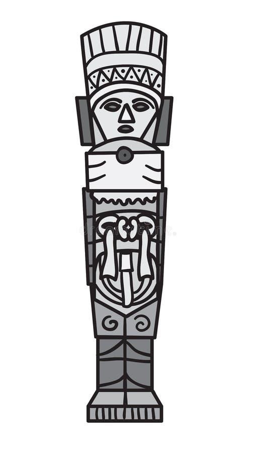 Stenprydnad i stil av mayaen. royaltyfri illustrationer