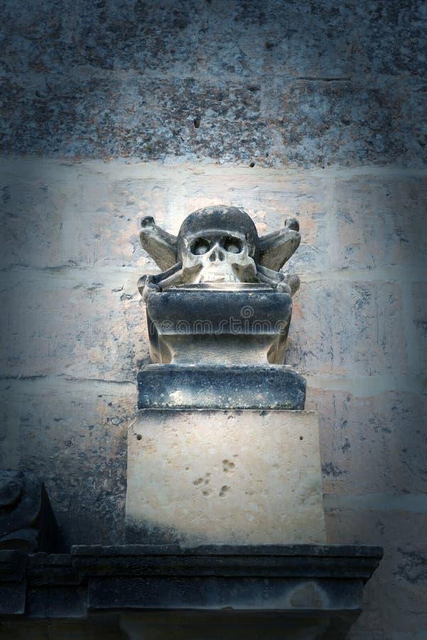 Stenskalleskulptur på en kyrka royaltyfri foto
