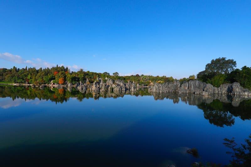 Stenskogen i Yunnan Detta ?r bildande f?r en kalksten som lokaliseras i Shilin Karstomr?de, Yunnan, Kina arkivfoton