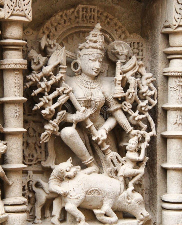 Stenskulpturer av medeltida Indien arkivbild