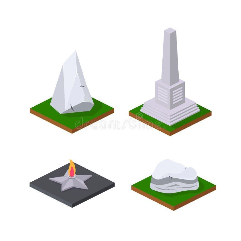 Stensocklar, monumentala monument, evig flamma på sockel vektor illustrationer