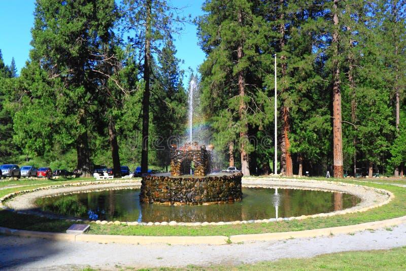 Stenspringbrunn i skog royaltyfria foton