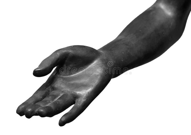 Stenstatydetalj av den mänskliga handen fotografering för bildbyråer