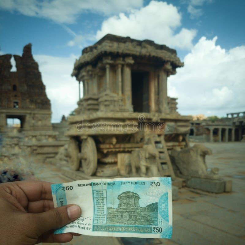 Stentriumfvagnen, arkeologiska Hampi fördärvar, Karnataka fotografering för bildbyråer