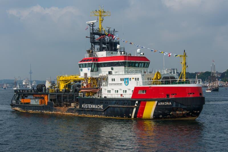 Stenwache del ¼ del barco KÃ del guardacostas en Kiel fotos de archivo