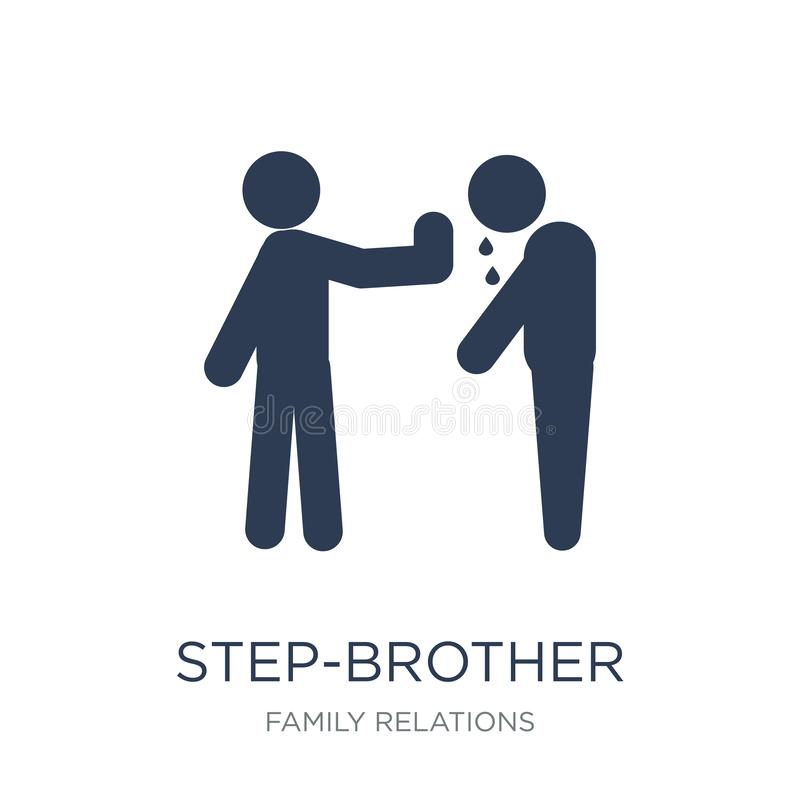 step-brother icon. Trendy flat vector step-brother icon on white royalty free illustration
