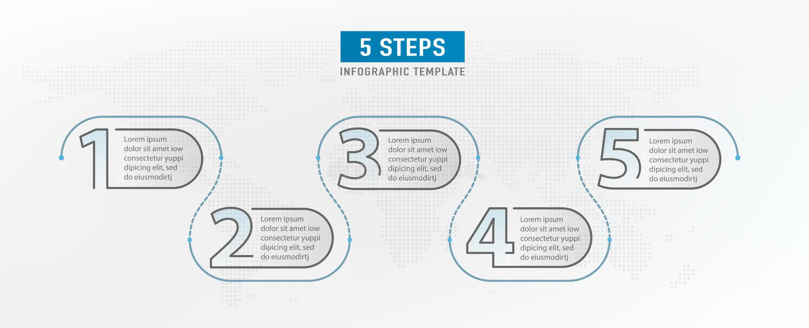 5 step elements. Workflow graphic design. Infograph timeline. Strategy work diagram. Infographic template. Vector royalty free illustration