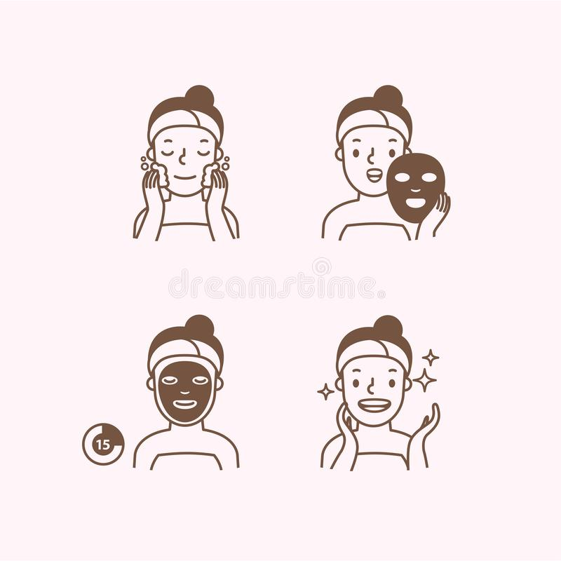 Step of face masking half body monochrome icon illustration vector on pink background. Beauty concept royalty free illustration