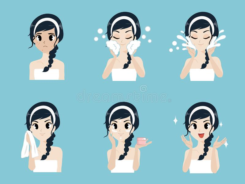 Step facial cleansing acne girls. Step facial cleansing, facial acne treatment, face healthy and look younger royalty free illustration