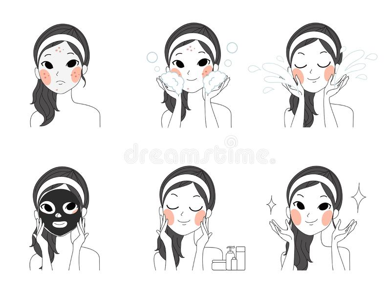 Step facial cleansing face illustration girls. Step facial cleansing, facial acne treatment, face healthy and look younger vector illustration