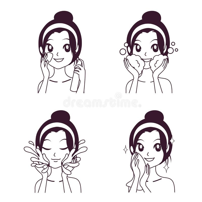 Drawing facial Cleansing Procedures by girl. Step facial cleansing, facial acne treatment, face healthy and look younger royalty free illustration