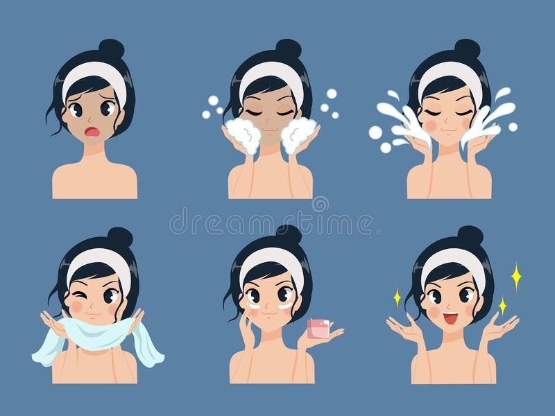 Step facial cleansing acne treatment by beautiful girl. Step facial cleansing, facial acne treatment, face healthy and look younger royalty free illustration