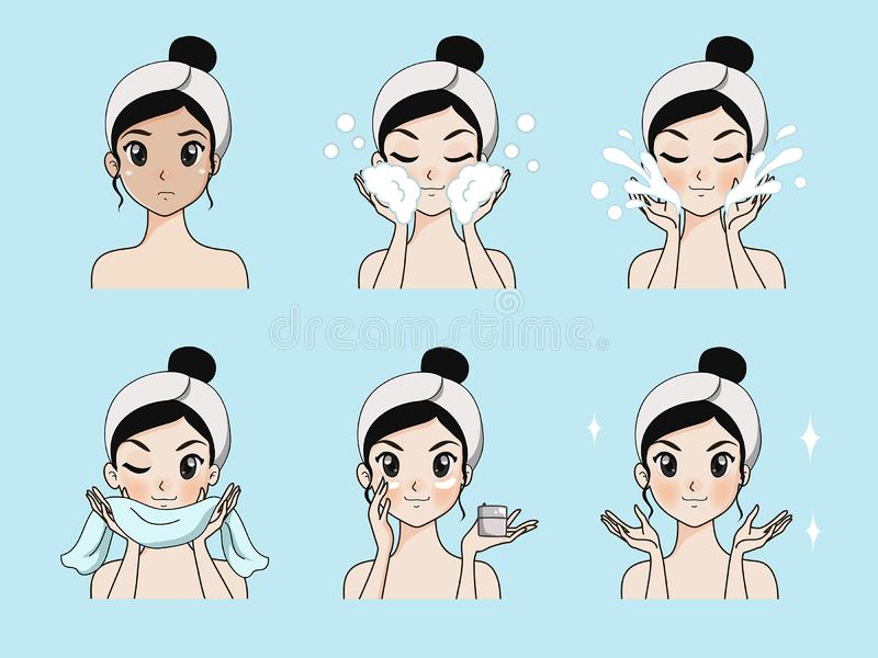 Step facial cleansing by beautiful girl. Step facial cleansing, facial acne treatment, face healthy and look younger vector illustration
