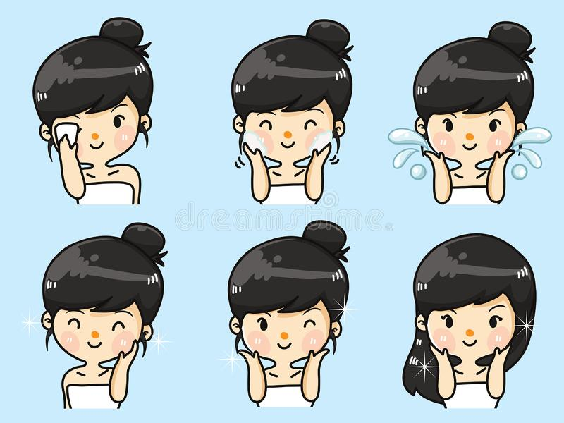 Step facial cleansing by cute girl. Step facial cleansing, facial acne treatment, face healthy and look younger vector illustration