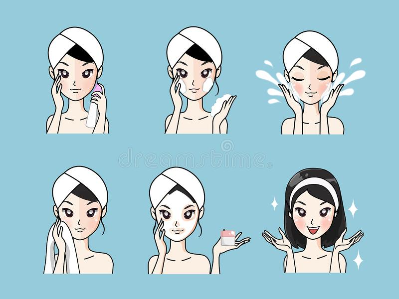 Step facial cleansing facial acne treatment healthy and look younger. Step facial cleansing, facial acne treatment, face healthy and look younger royalty free illustration