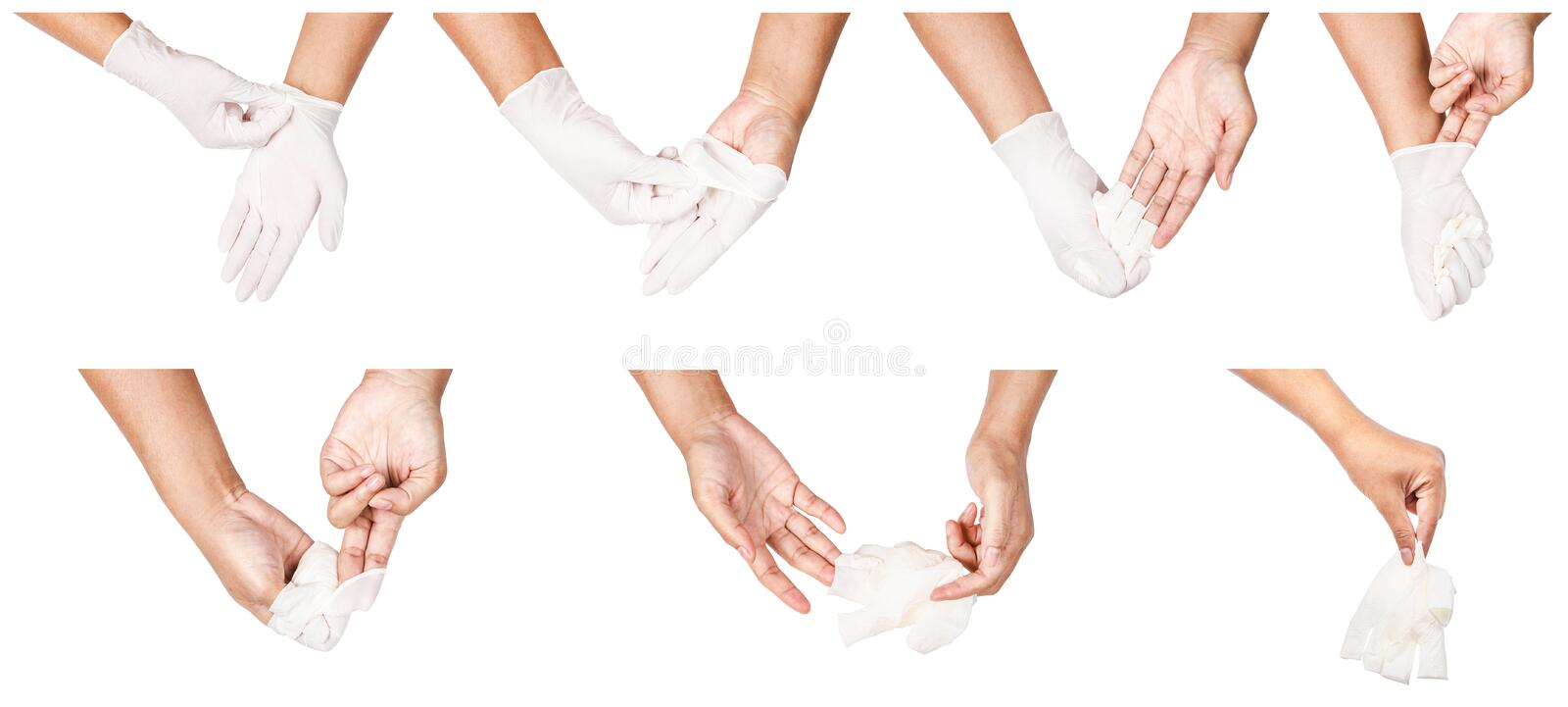 Step of hand throwing away white disposable gloves medical. stock photo