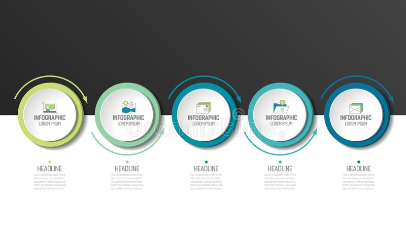 5 step Infographic. Circles with arrows. Template or diagram, graph, milestone, chart, presentation or infograph vector illustration